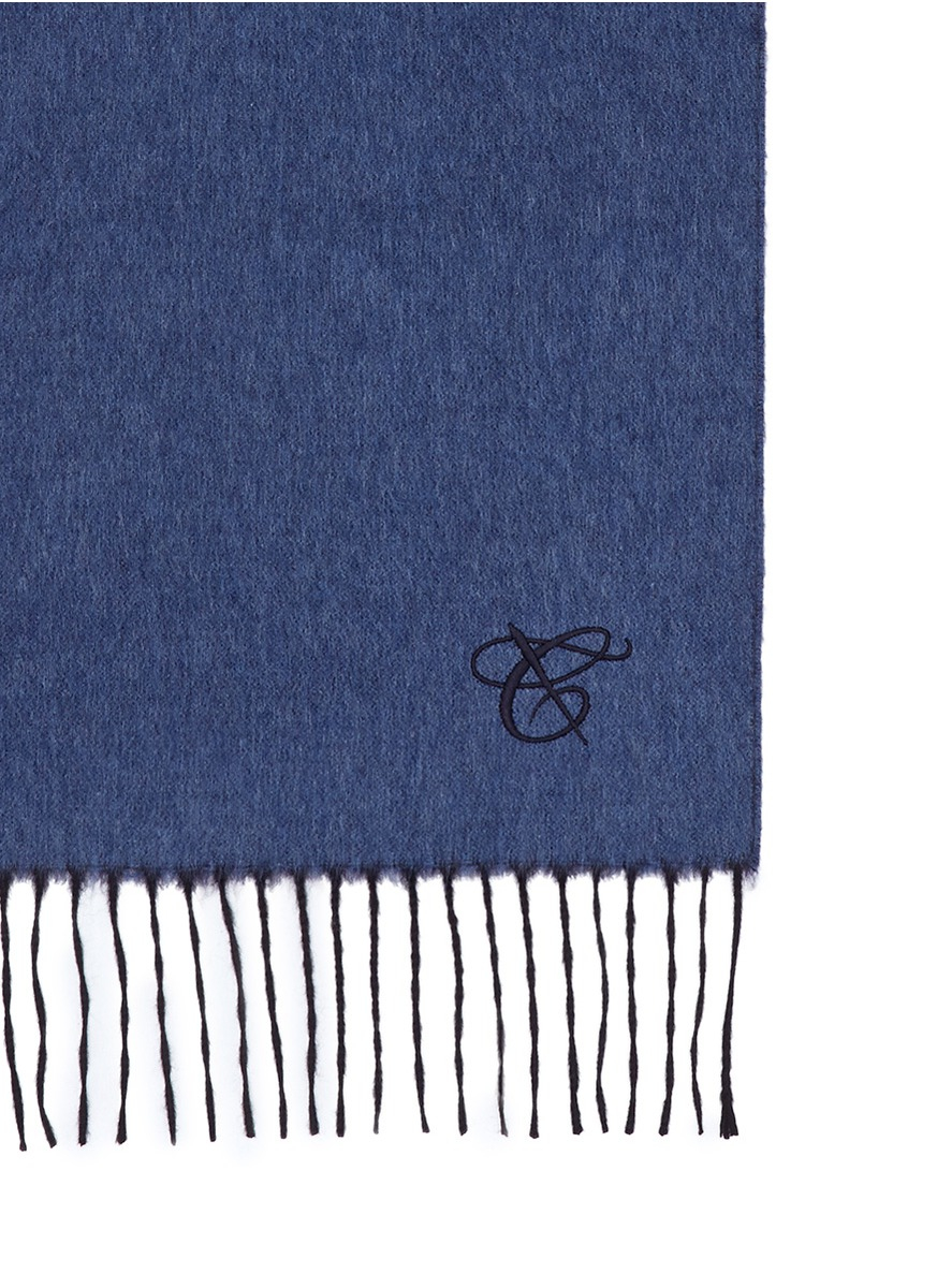 Lyst Canali Reversible Cashmere Silk Scarf In Blue For Men