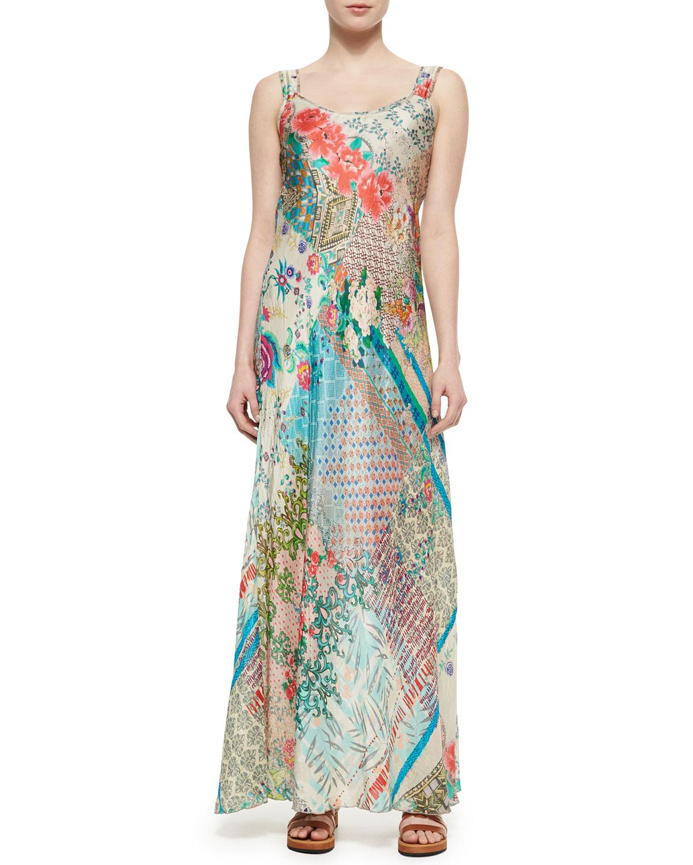 Lyst Johnny Was Patch Print Silk Maxi Dress