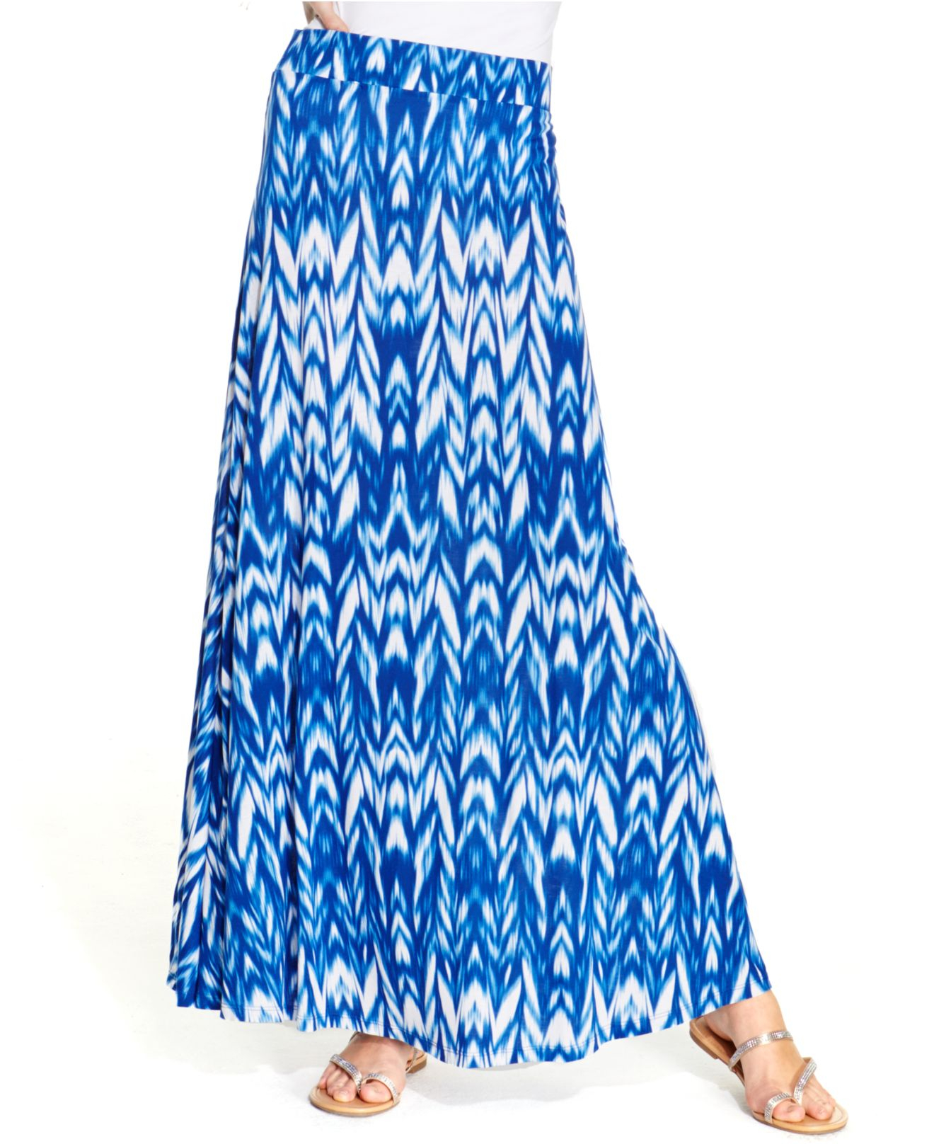 inc international concepts ikat print maxi skirt in blue