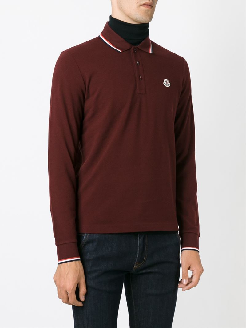 Lyst moncler long sleeve polo shirt in red for men for Polo shirts long sleeve men