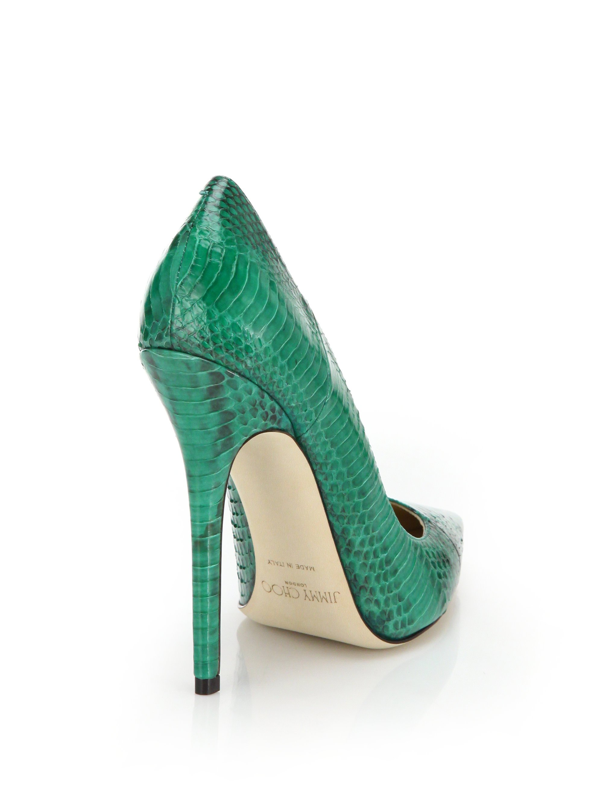 a85a2e6c4bd7 Lyst - Jimmy Choo Anouk Snakeskin Pointed-Toe Pumps in Green