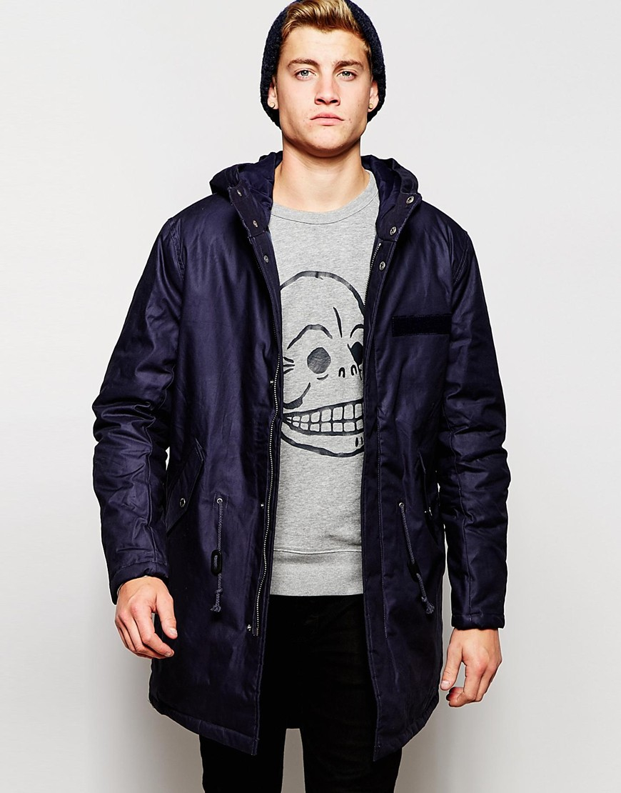 Cheap monday Hooded Parka Jacket Cage Padded in Blue for Men | Lyst
