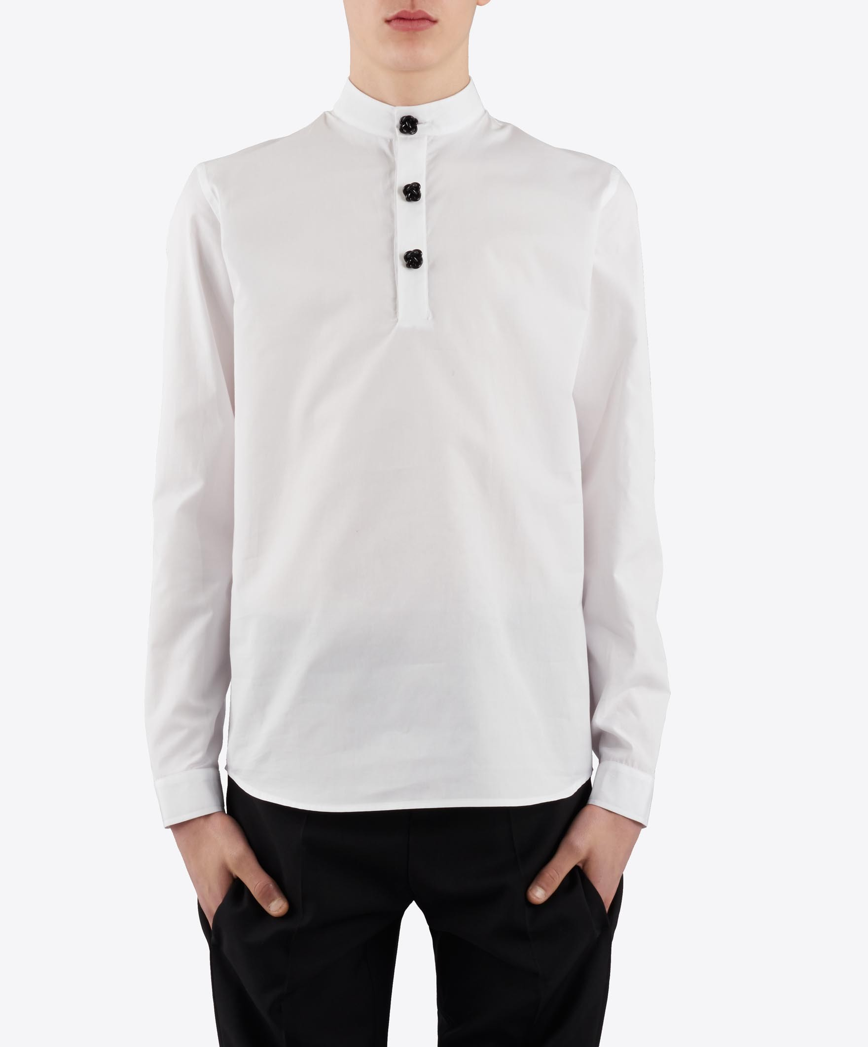 J white mandarin collar shirt with knot buttons for Chinese collar shirts for men