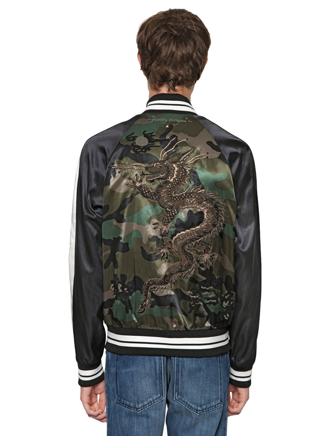 Valentino Dragon Embroidered Satin Bomber Jacket In Green