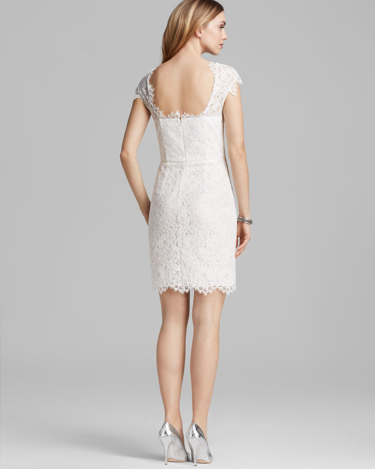 Shoshanna Dress Scarlett Cap Sleeve Lace in White | Lyst