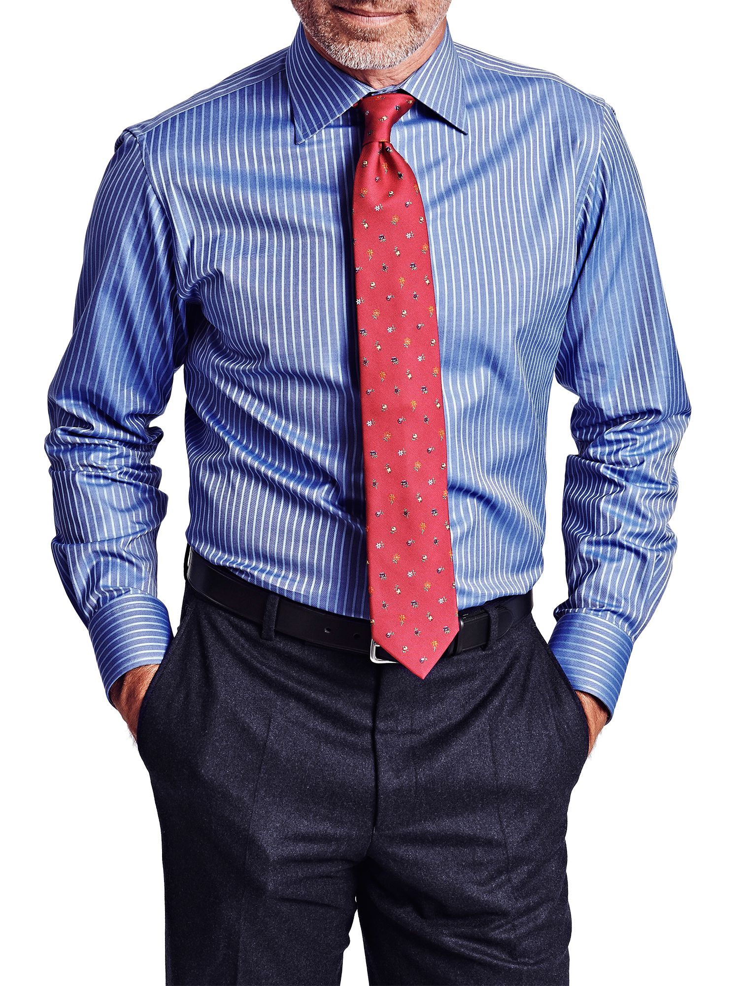 Thomas pink Gibson Stripe Slim Fit Shirt in Blue for Men | Lyst