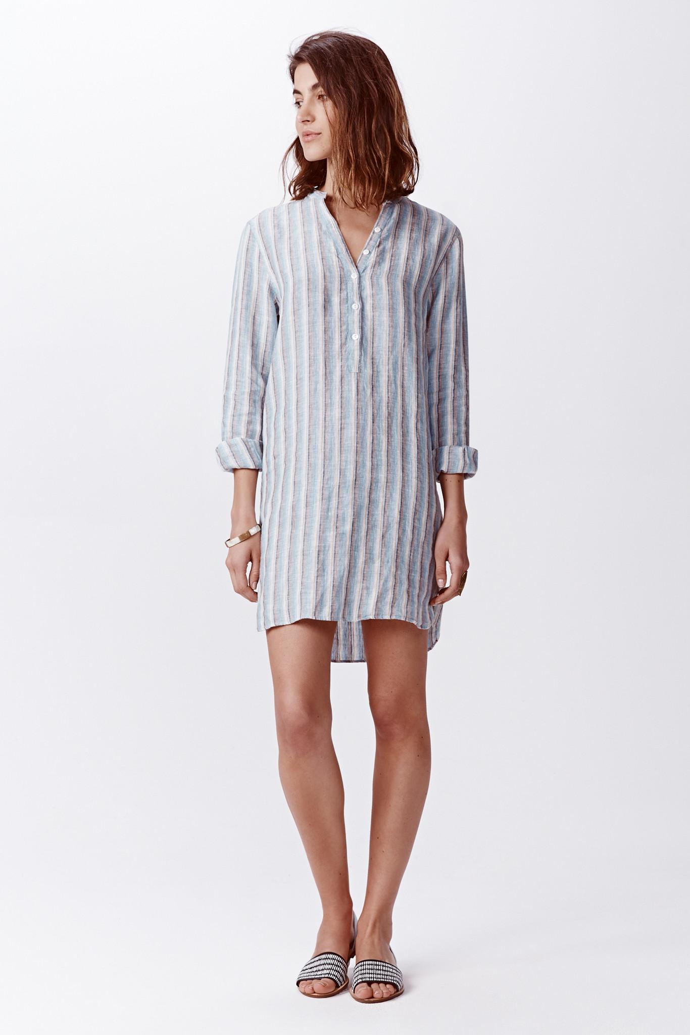 Faherty Brand Stripe Linen Shirt Dress In Blue Reef Blue