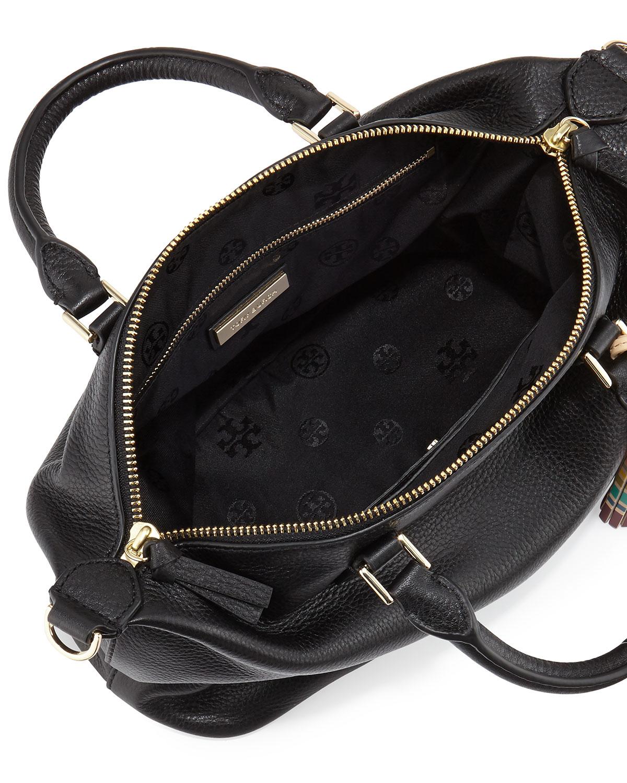87fb48cf4ec Lyst - Tory Burch Small Slouchy Satchel Bag W tassel in Black