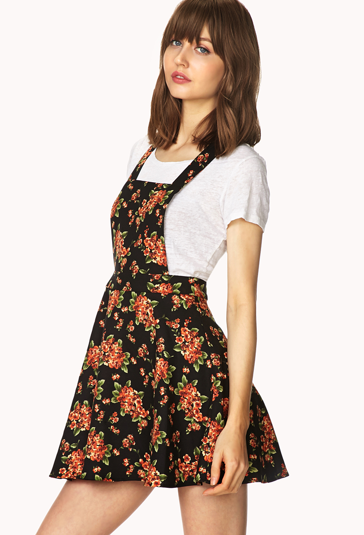 a8fd2bf8691 Forever 21 Sweetest Flower Overall Dress in Orange - Lyst