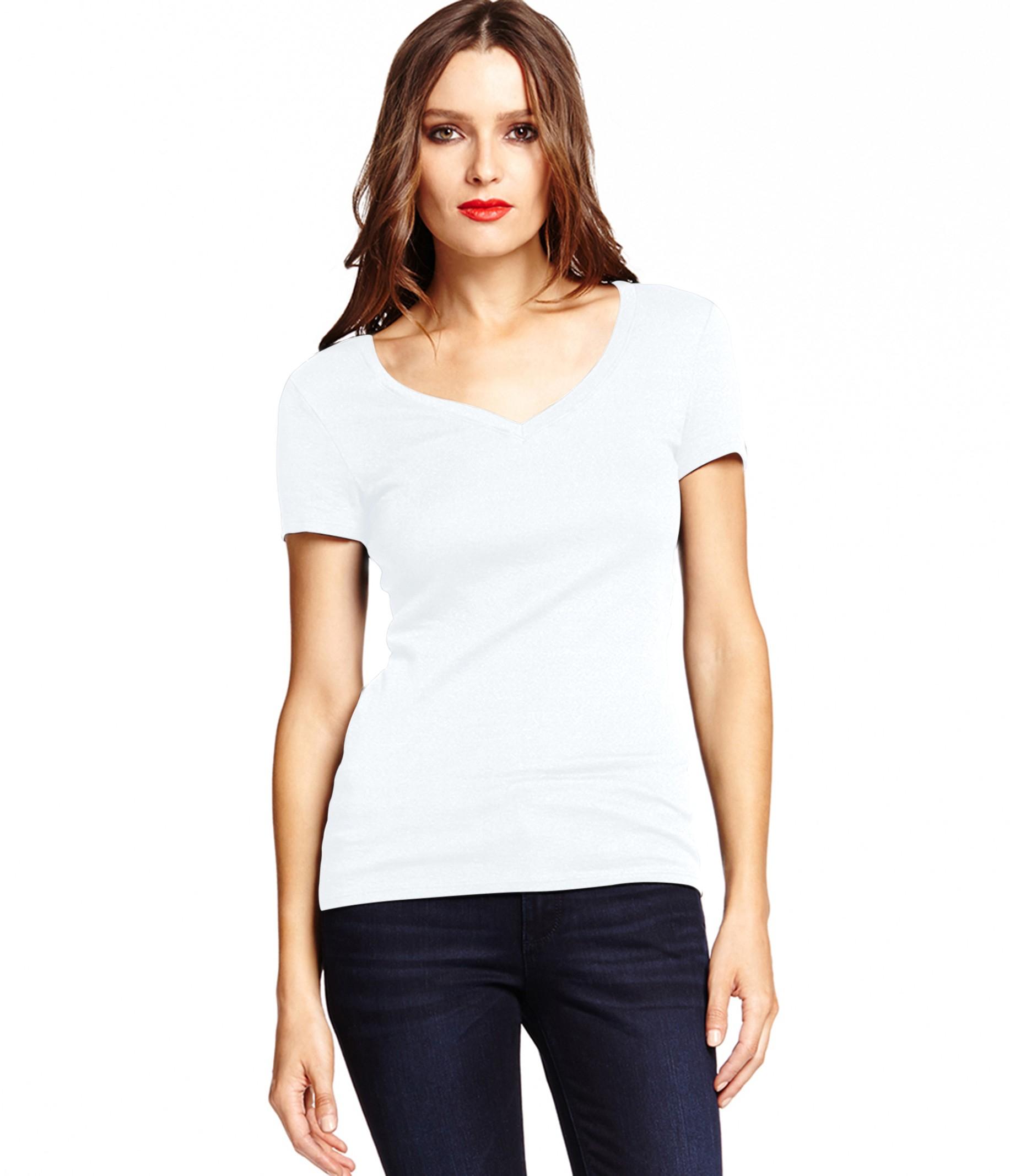 Michael stars shine short sleeve v neck tee in white lyst for Michael stars tee shirts