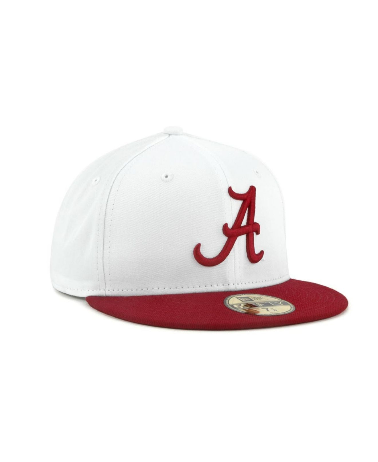 sports shoes 15664 eaa9f KTZ Alabama Crimson Tide Ncaa White 2 Tone 59fifty Cap in White for ...
