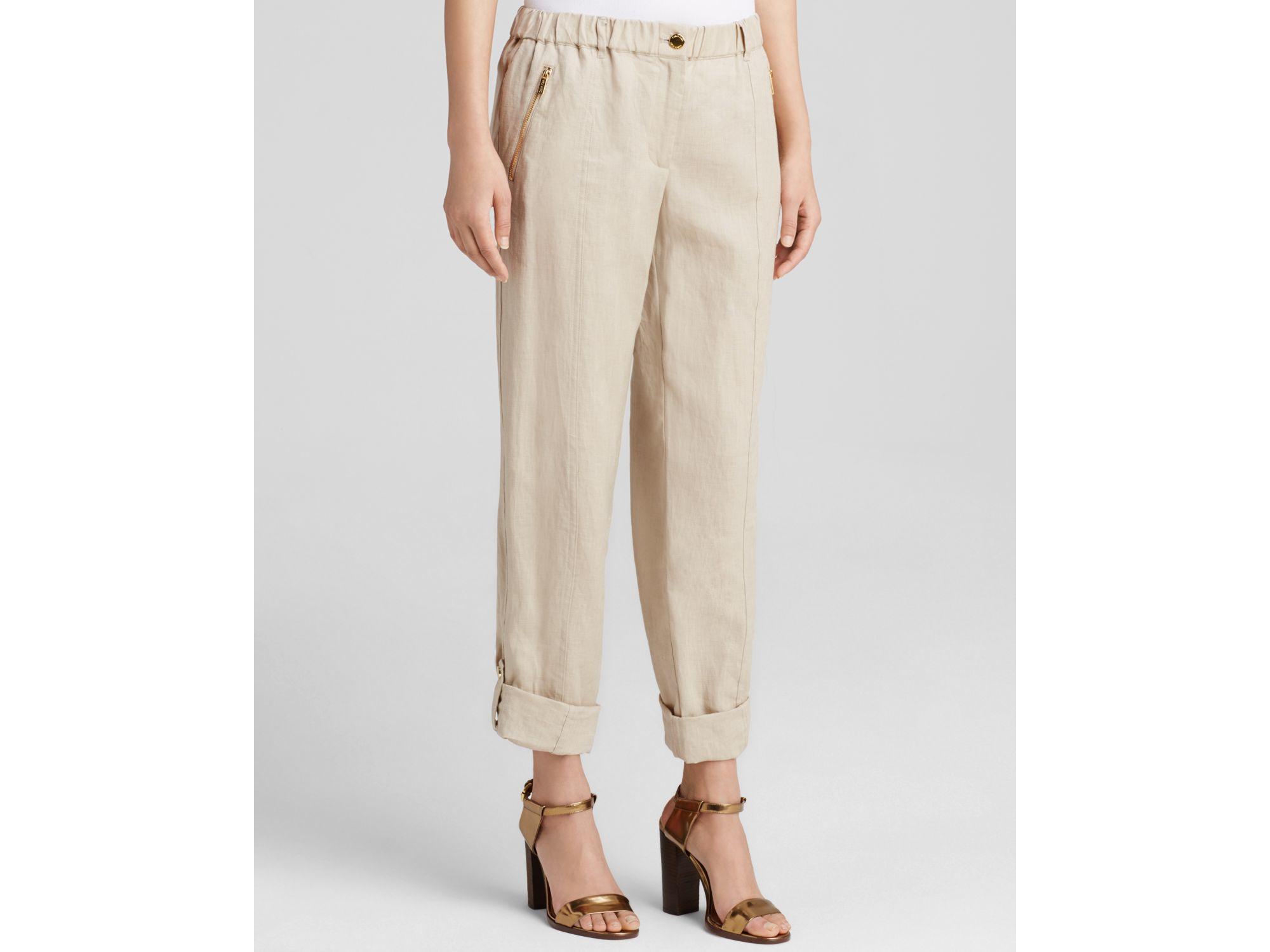 Calvin klein Roll Cuff Linen Pants in Natural | Lyst