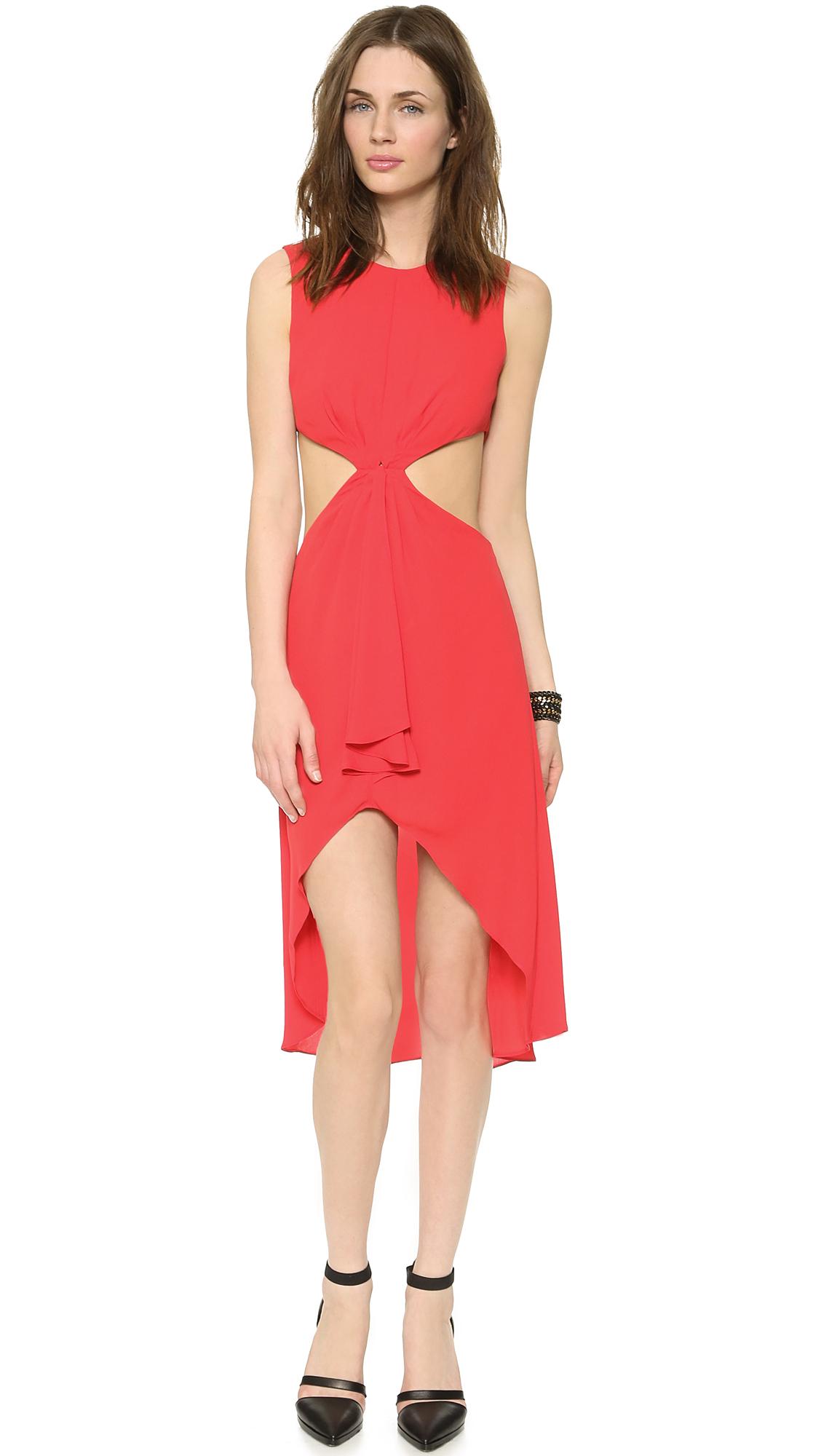 93d7c5cc4e Lyst - BCBGMAXAZRIA Victoria Side Cutout Dress - Lipstick Red in Red