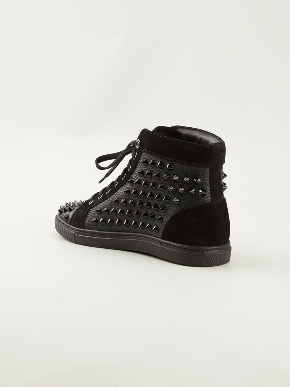 Philipp Plein Studded Hitop Sneakers In Black Lyst