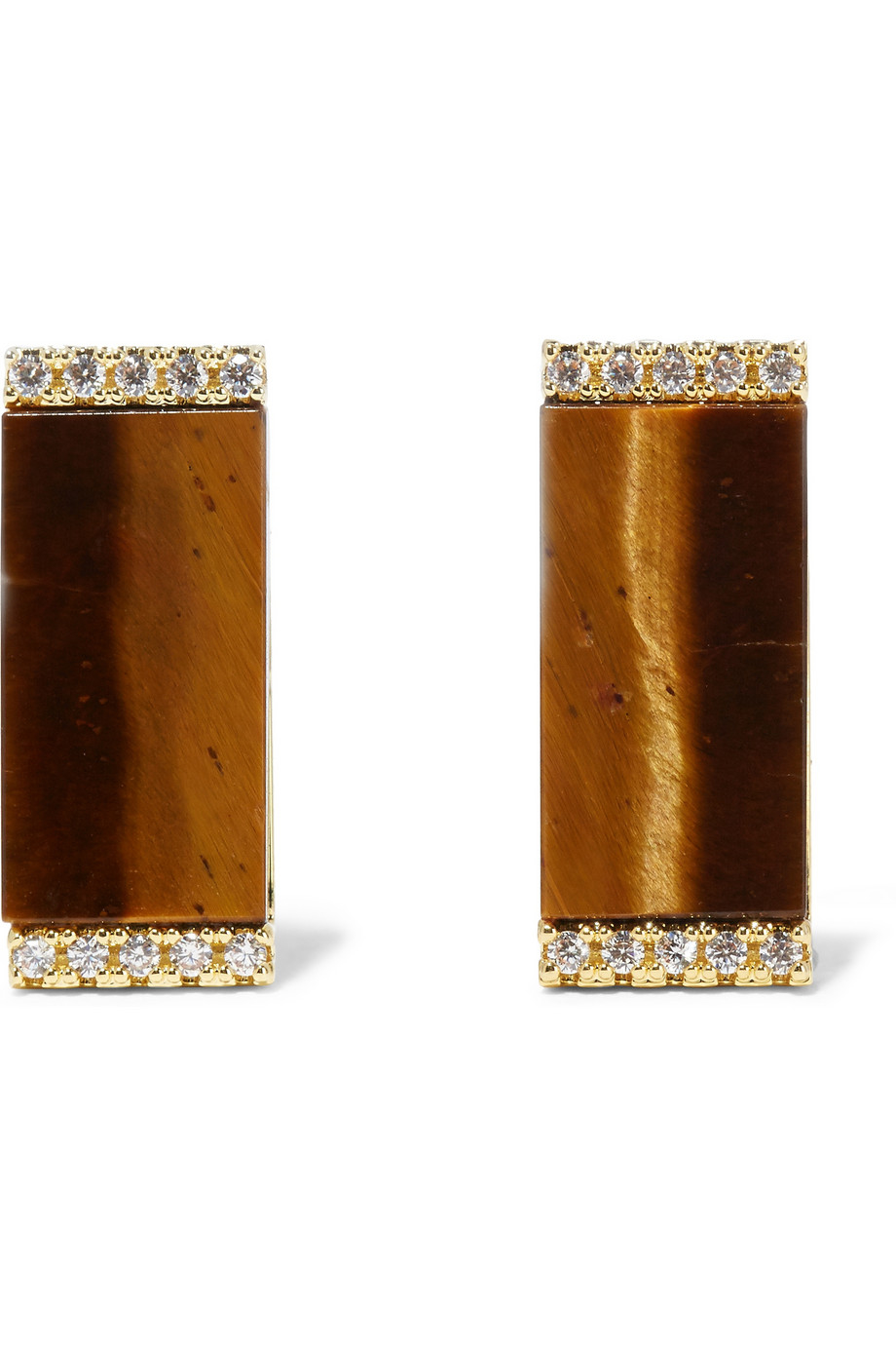 Kevia Gold-plated Tiger's Eye And Pavé Cubic Zirconia ...