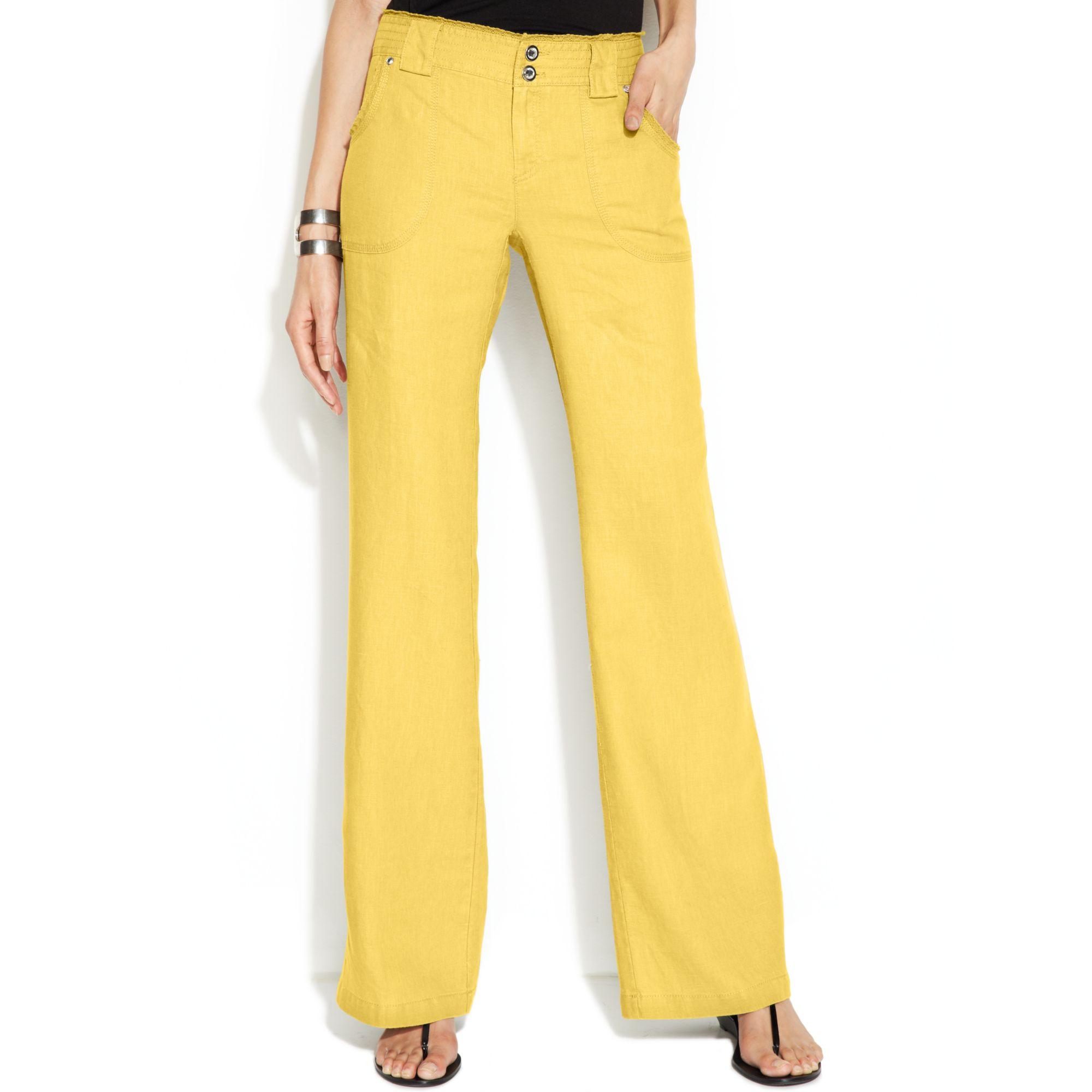 Inc international concepts Curvy Fit Lace Trim Wide Leg Linen ...