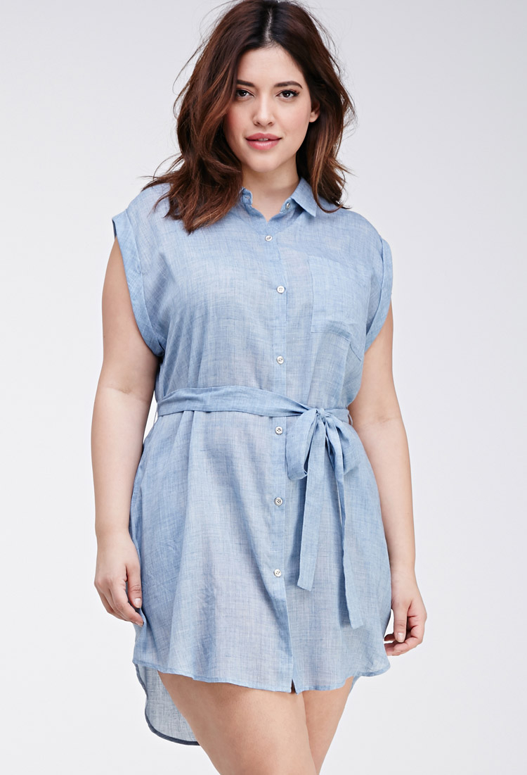 Forever 21 belted chambray tunic in blue lyst for Belted chambray shirt dress