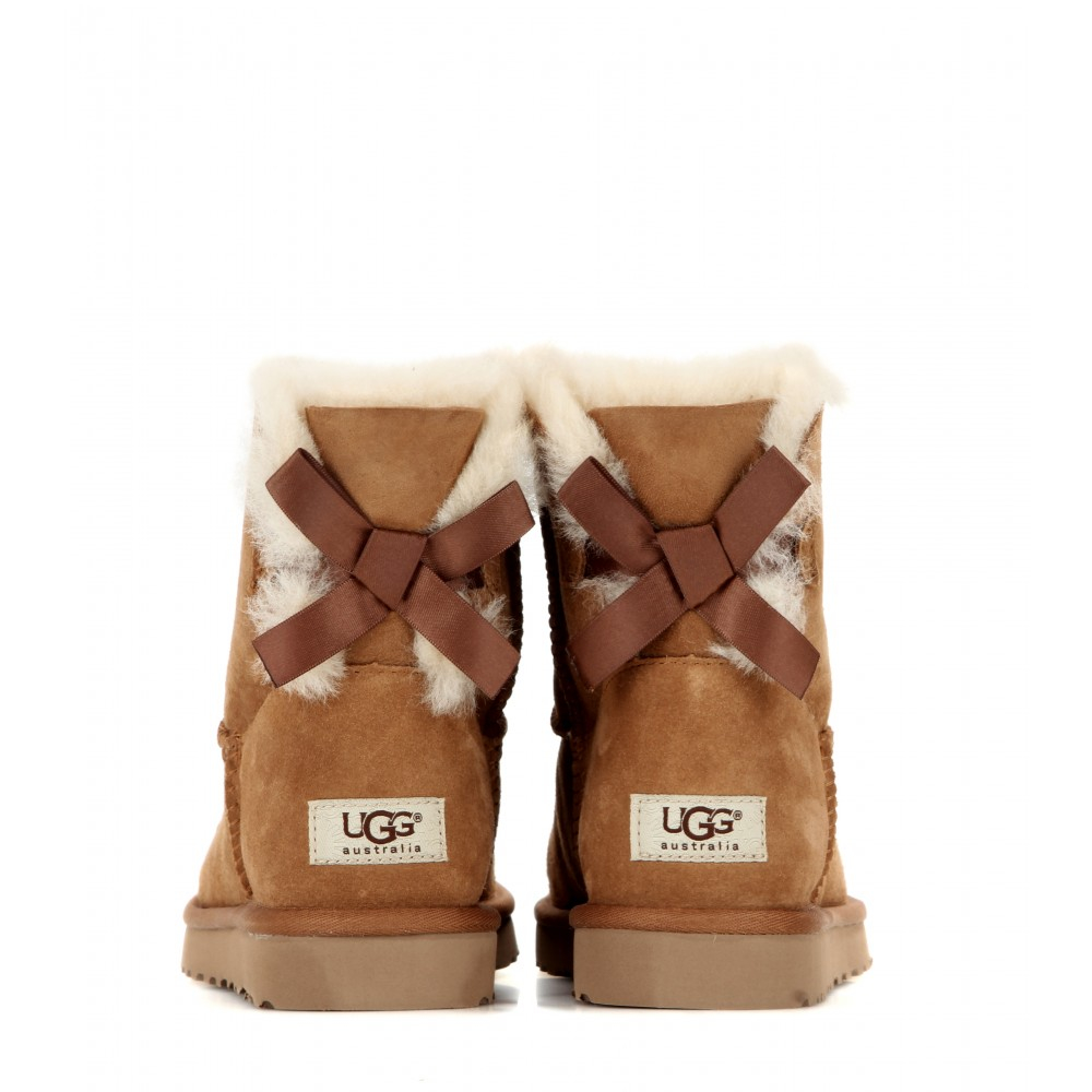 ugg mini bailey bow suede boots in brown lyst. Black Bedroom Furniture Sets. Home Design Ideas
