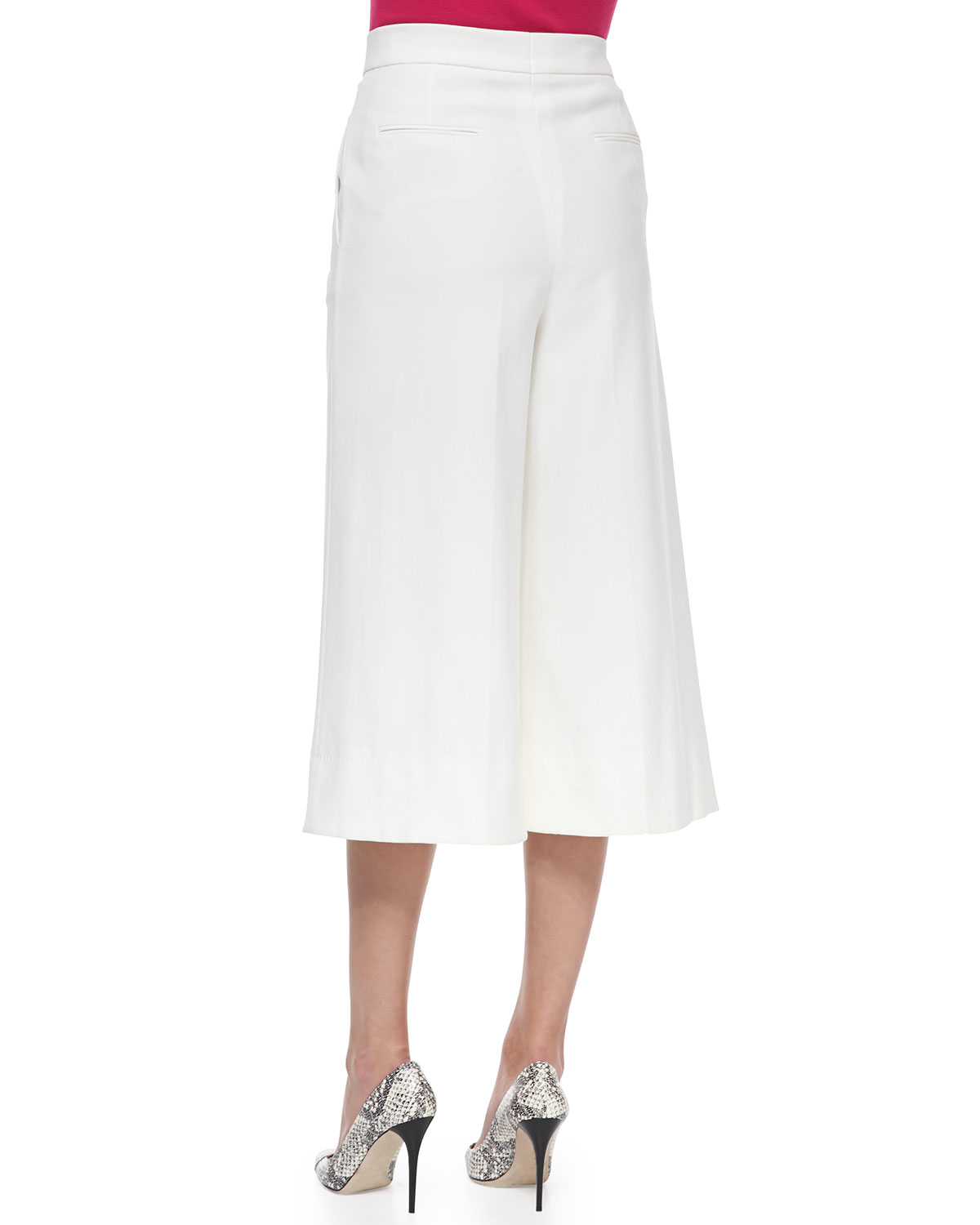 Escada High-waist Stretch-cotton Gaucho Pants in White | Lyst