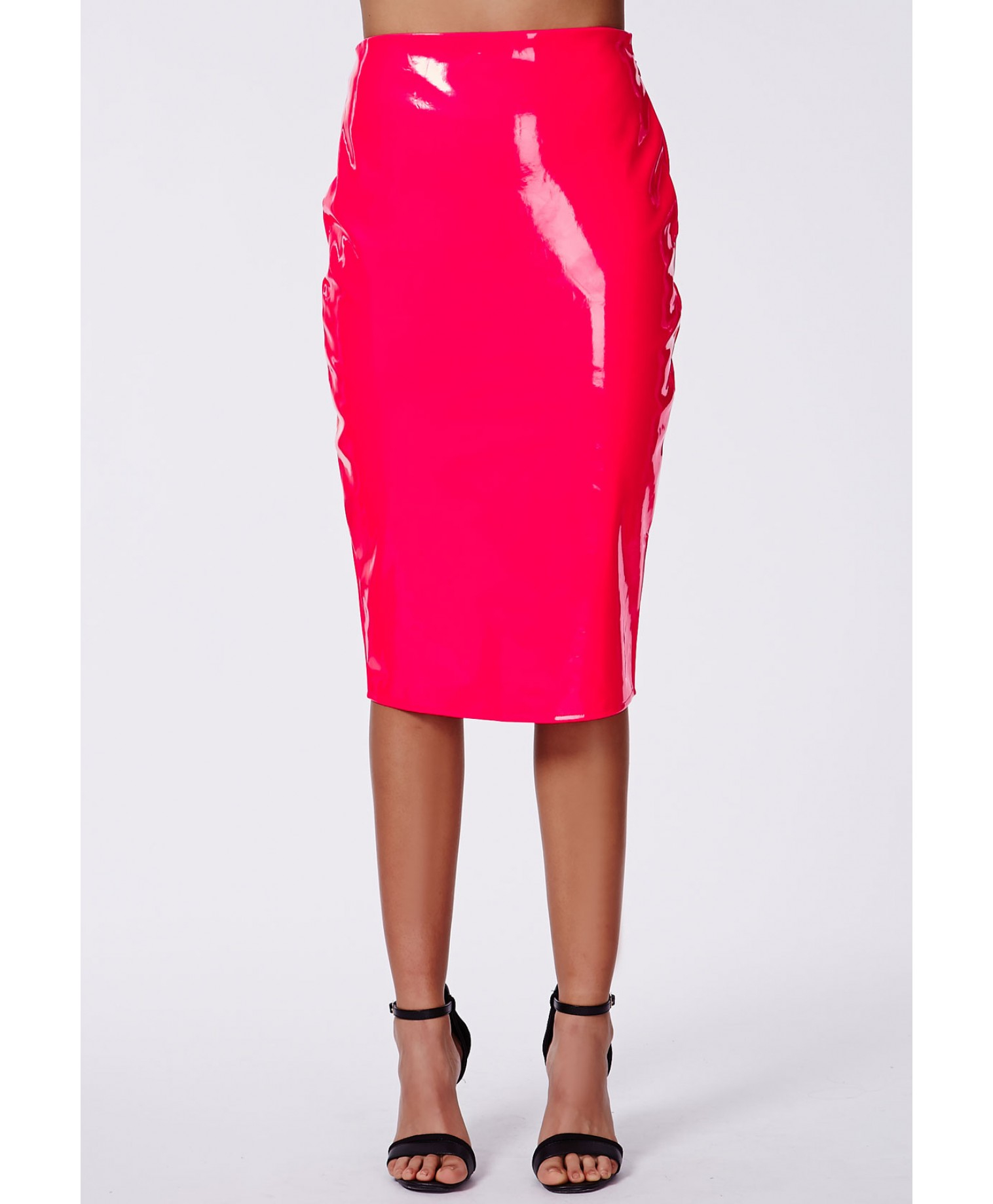 missguided mircia neon pink pvc midi skirt in pink lyst