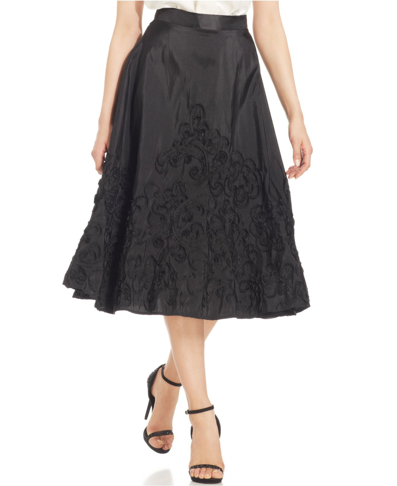 marina embroidered a line midi skirt in black lyst