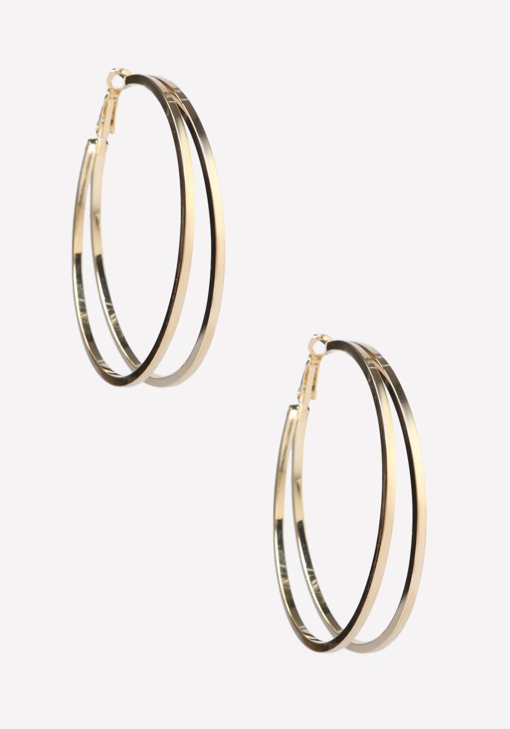 lyst bebe double row hoop earrings in metallic. Black Bedroom Furniture Sets. Home Design Ideas