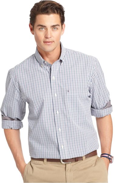 Izod gray big and tall plaid long sleeve shirt for men for Izod big and tall shirts