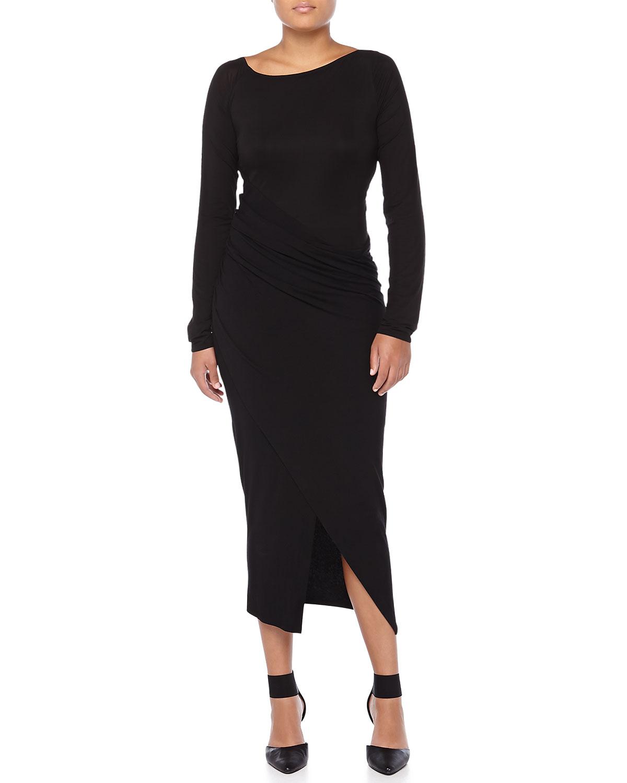 cc9fe15f0f0 Lyst - Donna Karan Spiral Draped Body Dress in Black