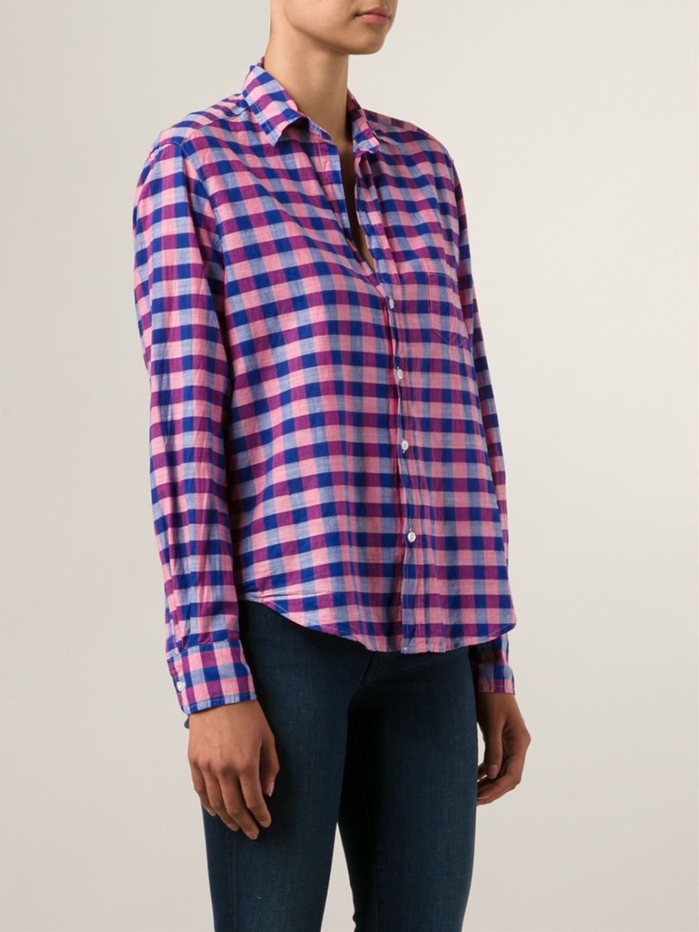 Frank Eileen Checked Shirt In Pink Pink Purple Lyst