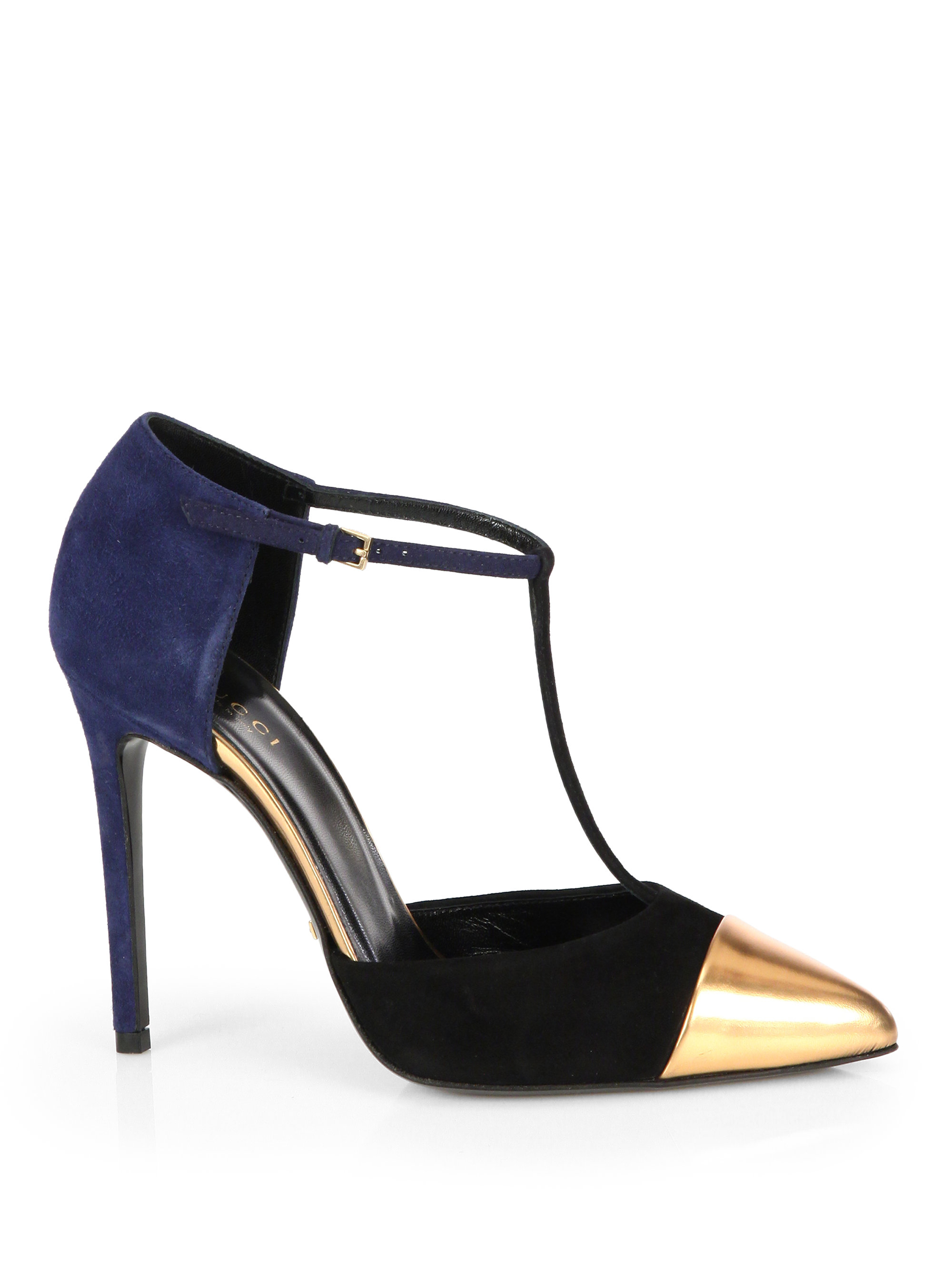 3c4873daaca43 Gucci Coline Suede & Leather T-Strap Pumps in Blue - Lyst