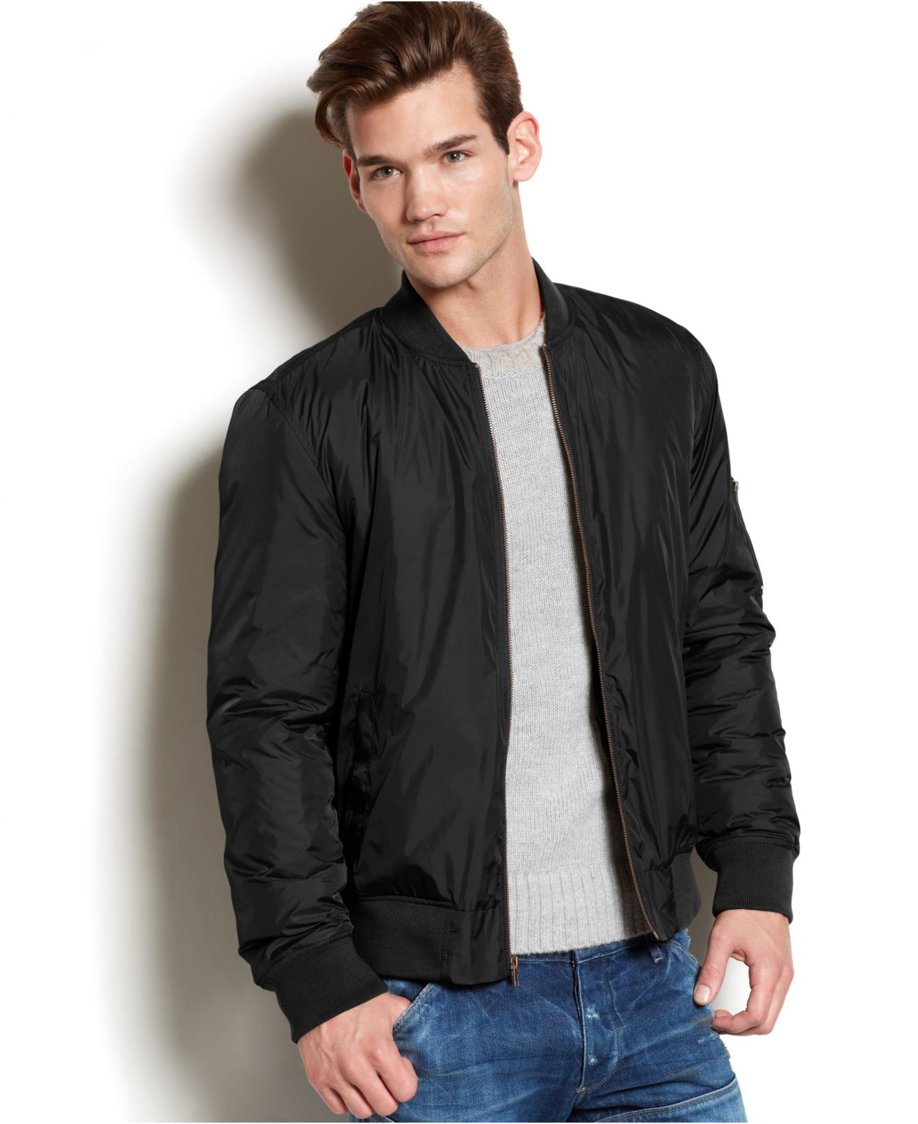 American rag Mackaye Nylon Bomber Jacket in Black for Men | Lyst