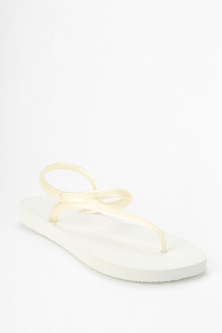 f0dd98ea80c4 Lyst - Havaianas Flash Anklewrap Thong Sandal in White