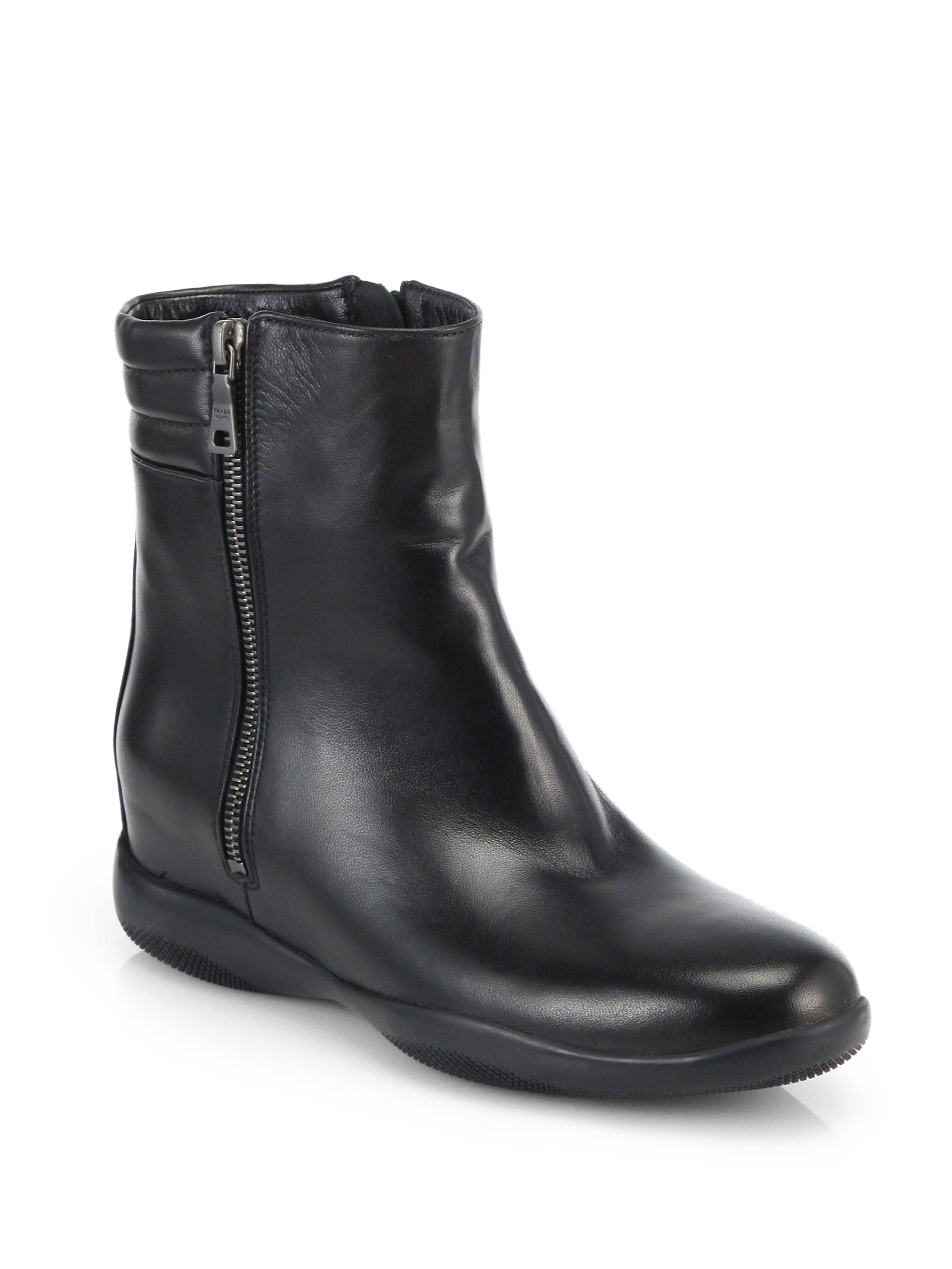 prada leather ankle boots in black lyst