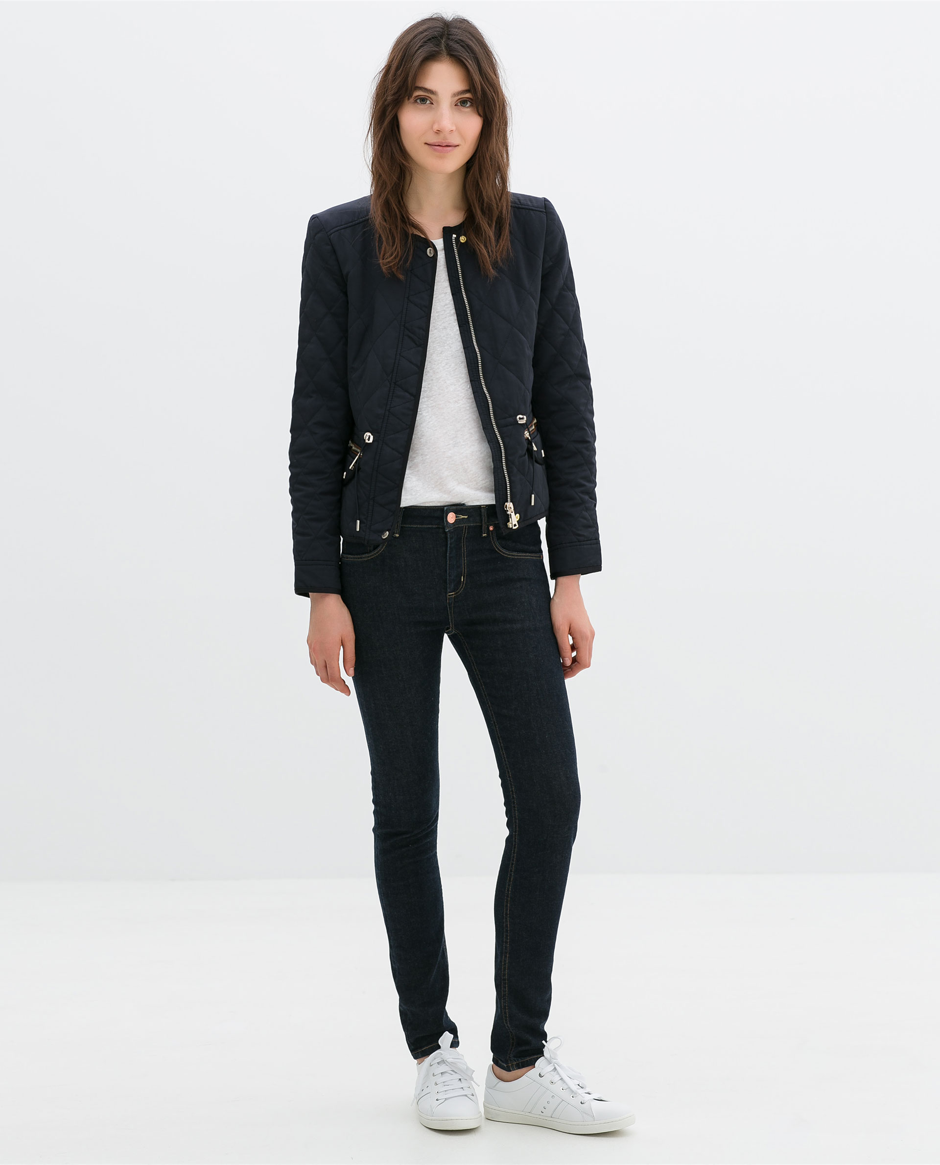 Zara Short Quilted Jacket in Blue | Lyst