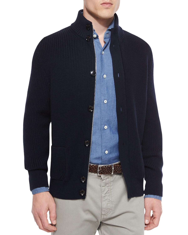 Ermenegildo zegna Button-front Wool Cardigan in Blue for Men | Lyst