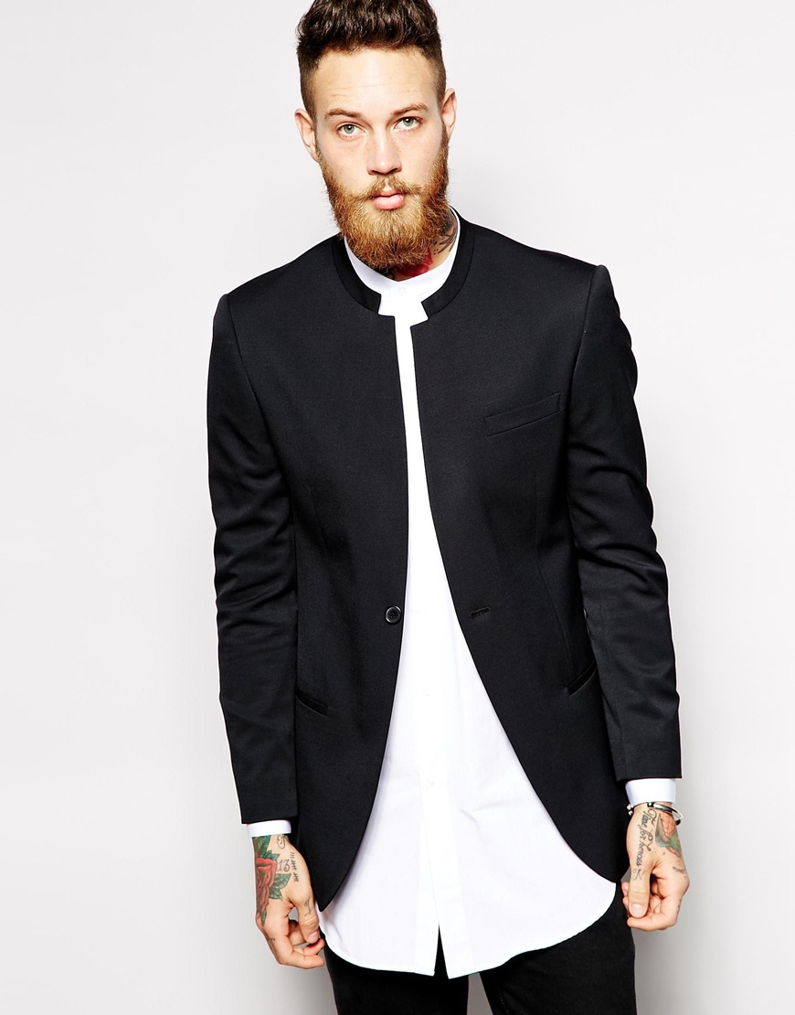 Lyst asos slim fit blazer with mandarin collar in black for Chinese collar shirts for men