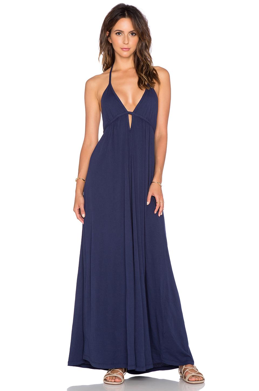 Bobi Supreme Jersey Halter Maxi Dress in Blue | Lyst