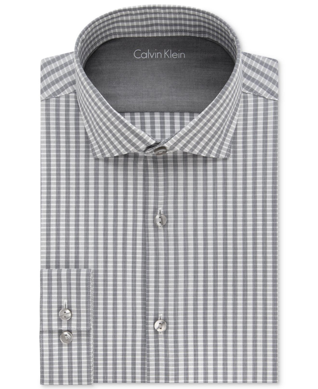 Calvin klein men 39 s x extra slim fit graphite striped dress for Calvin klein x fit dress shirt