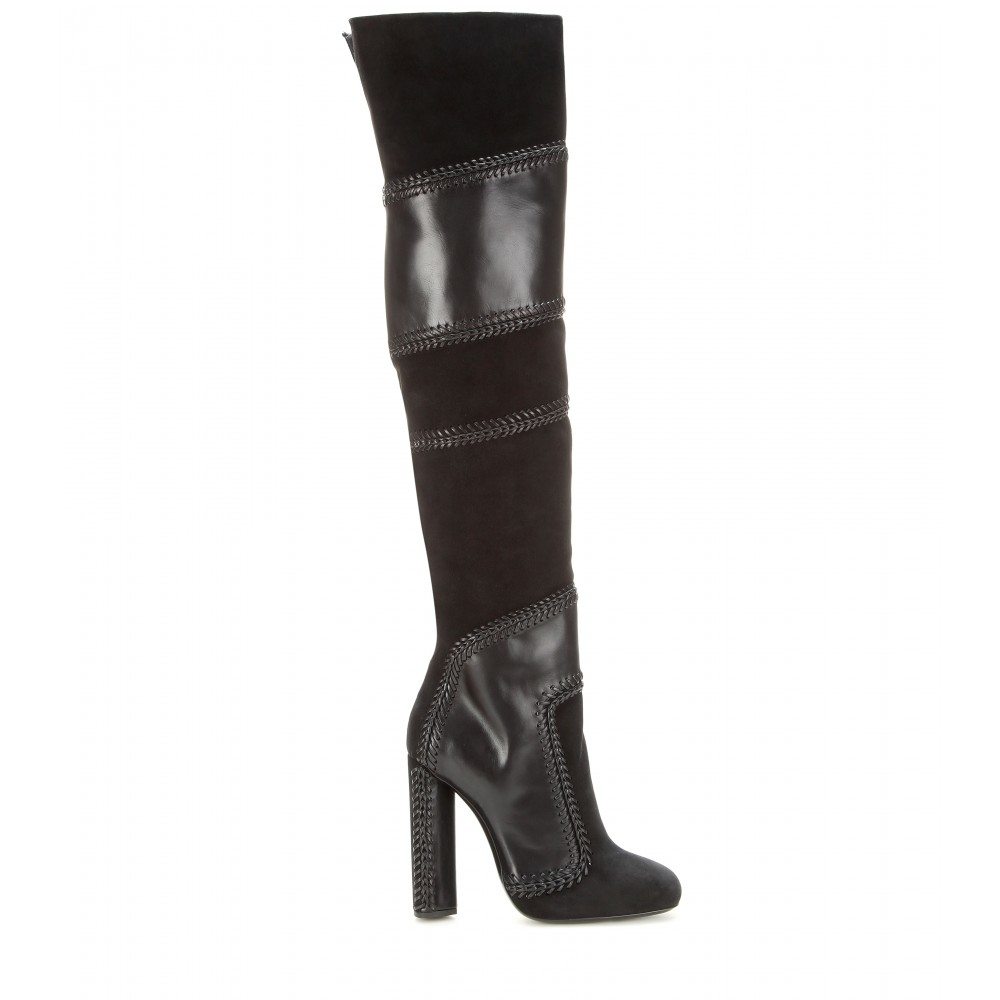 8cde1586f53b Tom Ford Suede And Leather Over-the-knee Boots in Black - Lyst