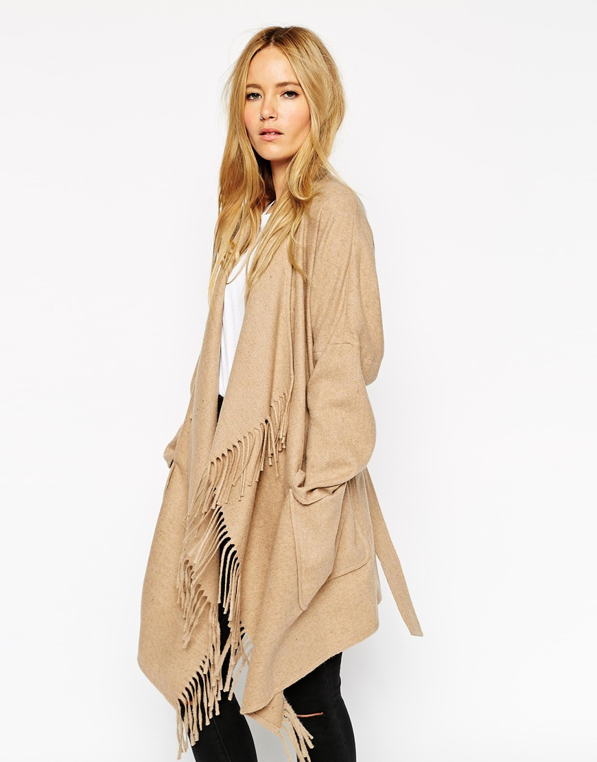 Asos Blanket Wrap Coat in Natural | Lyst