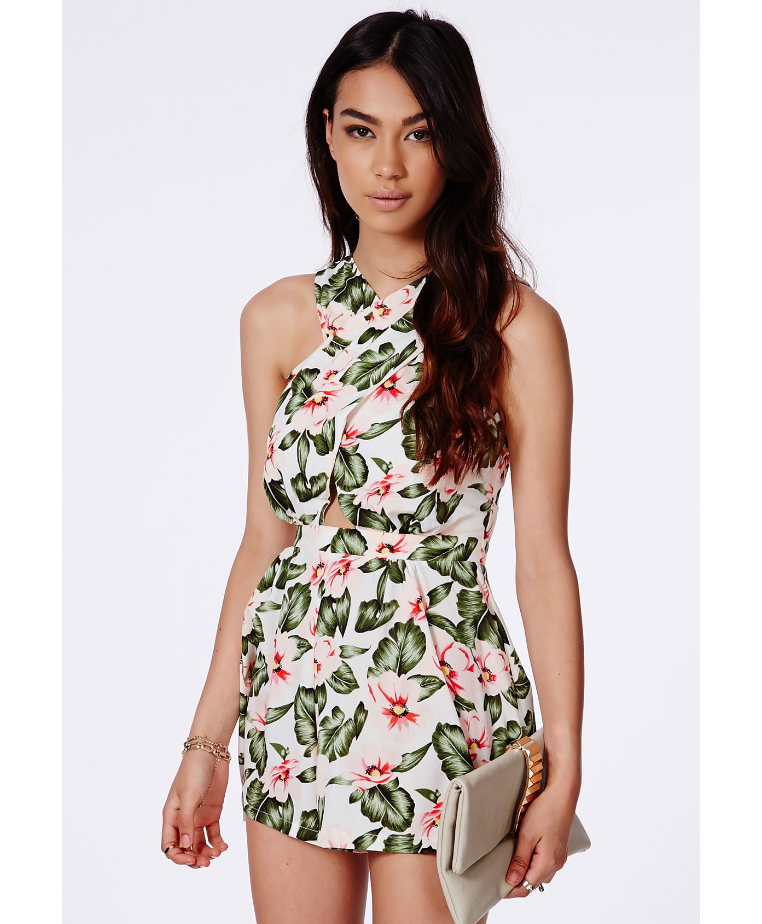 9e7399ad074 Lyst - Missguided Mistia Tropical Crossover Playsuit