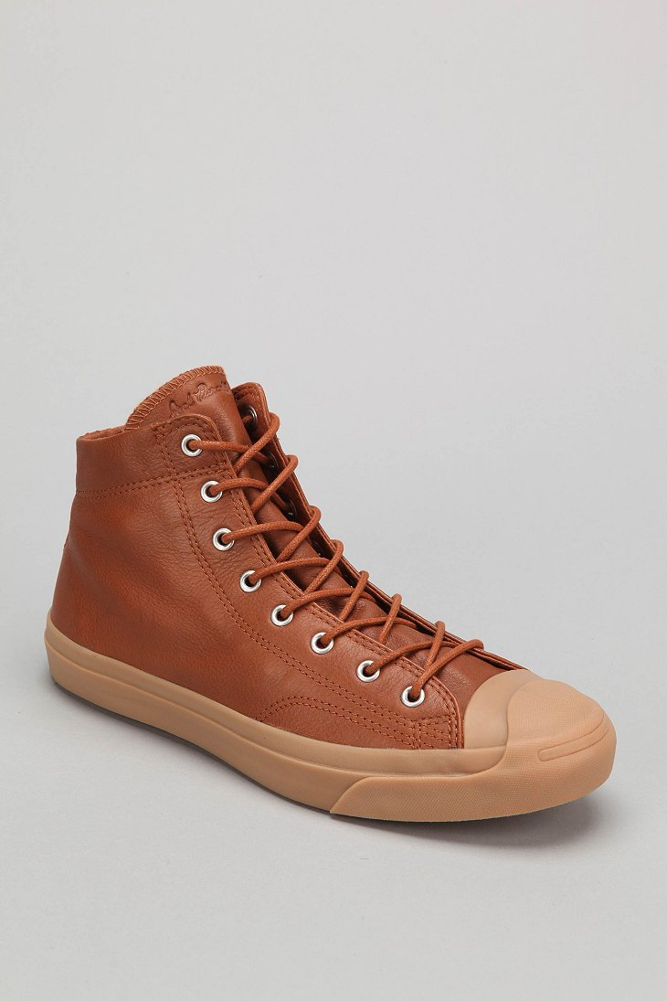 57dc1e03bbc1 ... best price lyst converse jack purcell mid top leather sneaker in brown  for men ea94d d74d2