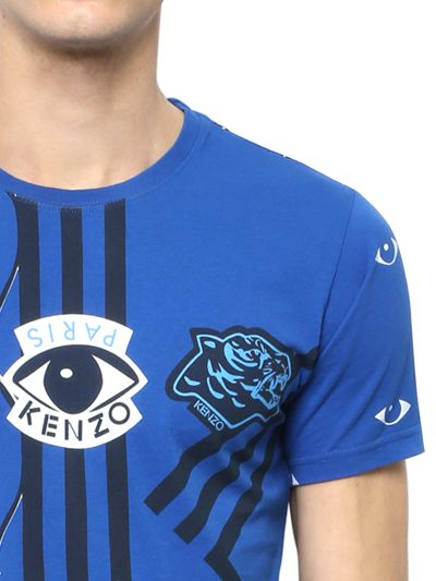 Kenzo Lyst In T Eye For Printed Shirt Patch Men Cotton Blue Logo On Y6ybfg7