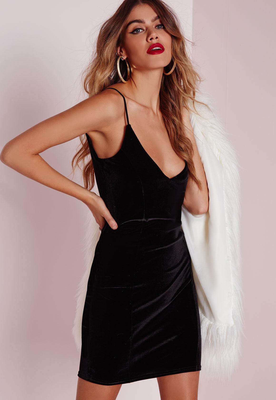 Missguided velvet racer high neck midi dress black in black lyst - Gallery Women S Velvet Dresses