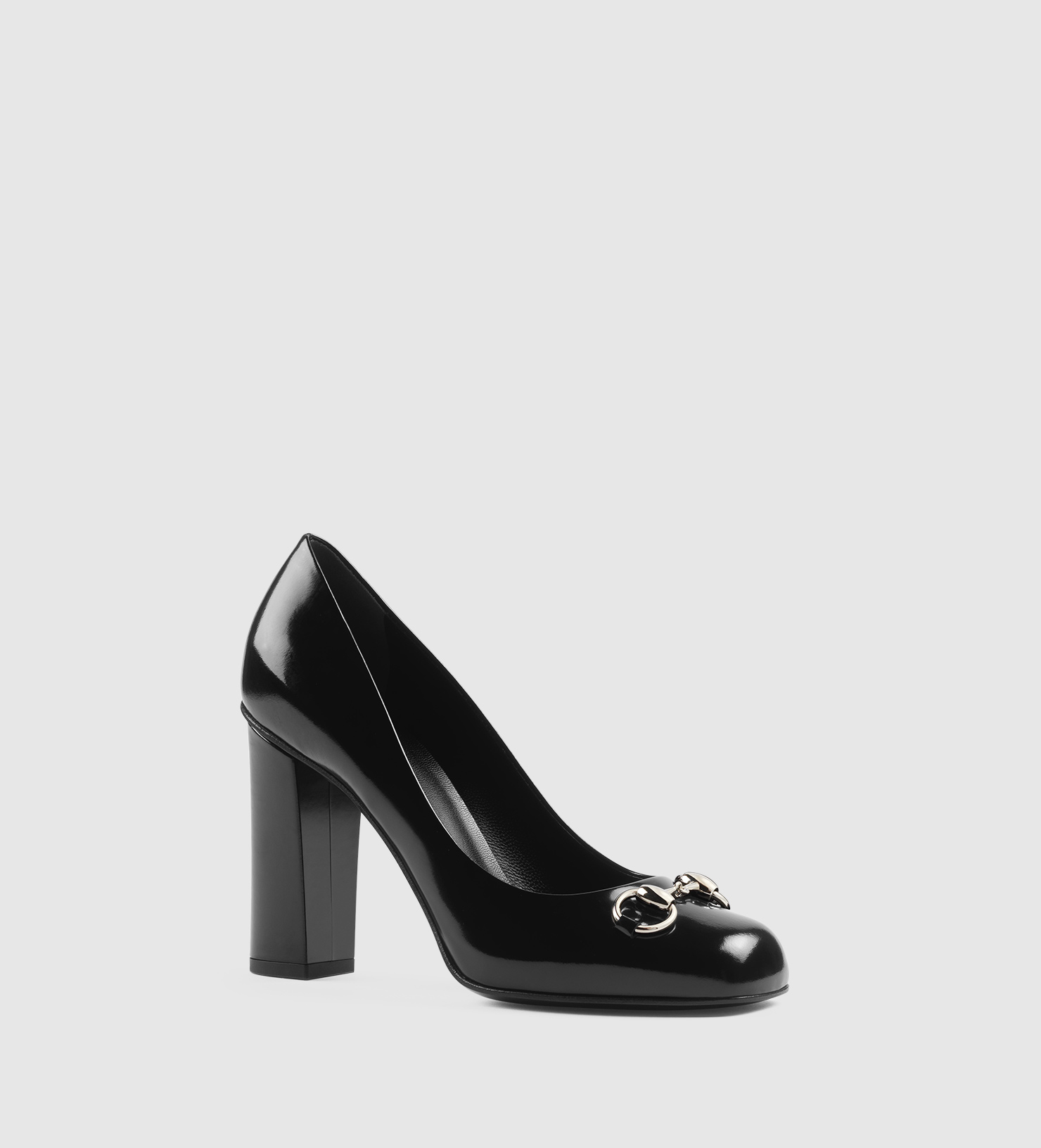 c4762daaa73 Gucci Polished Leather Horsebit Loafer Pump in Black - Lyst