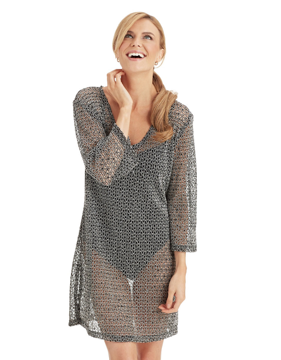2e426c2999 J Valdi Crochet Tunic Cover Up With Sequins in Black - Lyst