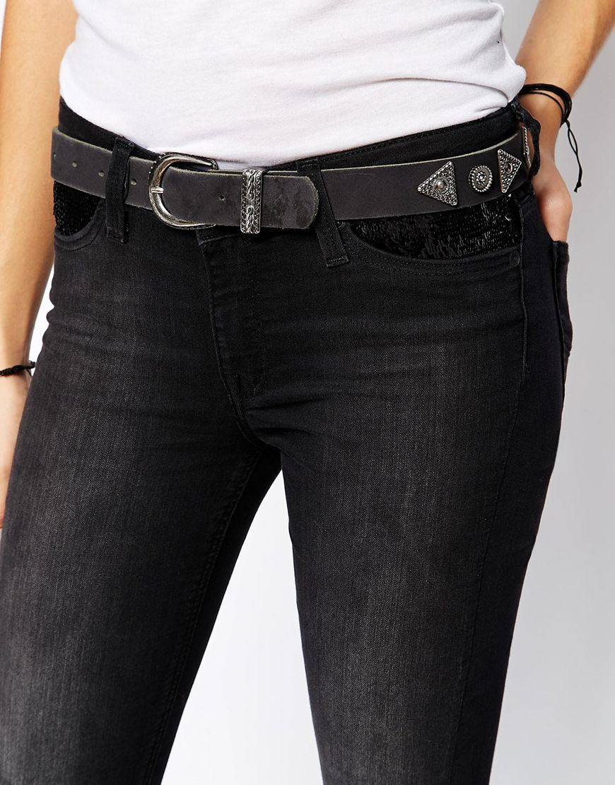 69b7a638 Lee Jeans Scarlett Black Rinse Skinny Jeans With Sequin Pocket in ...