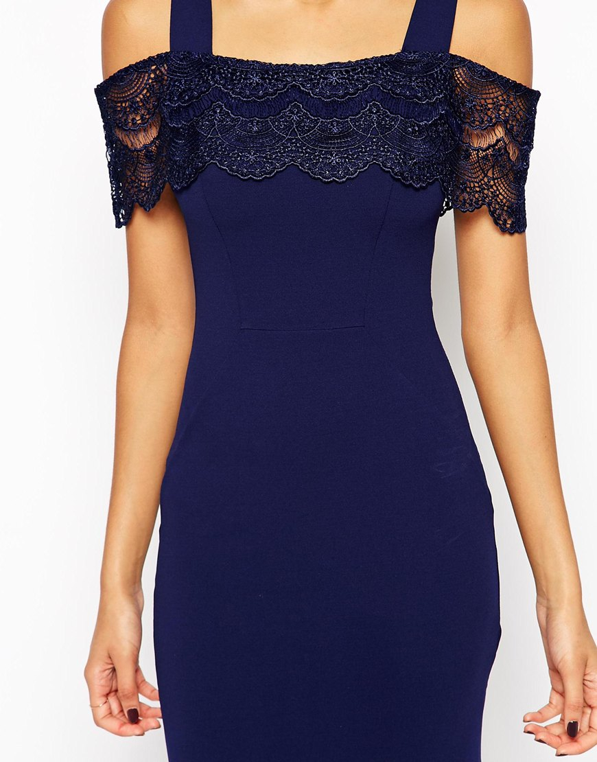 3d8836a4d741 Lipsy Off The Shoulder Bodycon Dress With Lace Detail in Blue - Lyst