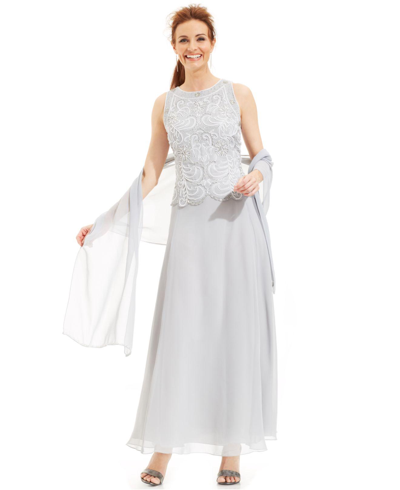 a68c532547 J Kara Beaded Bodice Chiffon Gown And Shawl in Metallic - Lyst