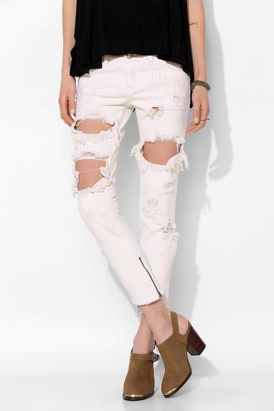 One Teaspoon White Freebird Jeans Jean in White One Teaspoon